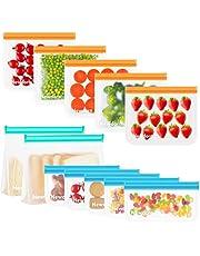 Newdora Bolsas de Silicona Reutilizables 12 Pack, Bolsas Congelar Reutilizables para Almacenamiento de Alimentos, Bolsas de conservación, Bolsas Reutilizables para Fruta Sándwiches Verduras, Sin BPA