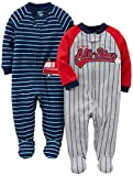 Simple Joys by Carter's Baby Boys' 2-Pack Cotton Footed Sleep and Play, All Star/Fire Truck, Newborn