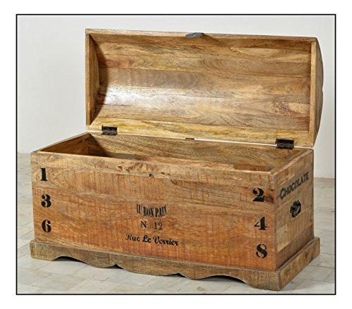 SIT-Möbel Rustic 1991-04 Truhe mit 1 Klappe, aus Mangoholz, Antik, braun, Wortprints, 100 x 43 x 50 cm - 2