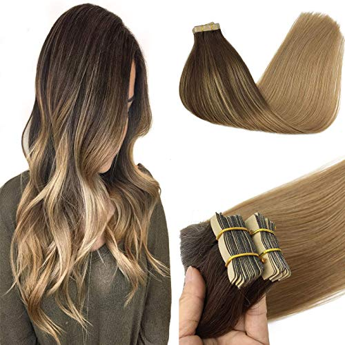 GOO GOO 14 Inch Tape in Hair Extensions Human Hair Ombre Chocolate Brown to Dirty Blonde Remy Hair Extensions 50g 20pcs Real Human Hair Extensions for Women