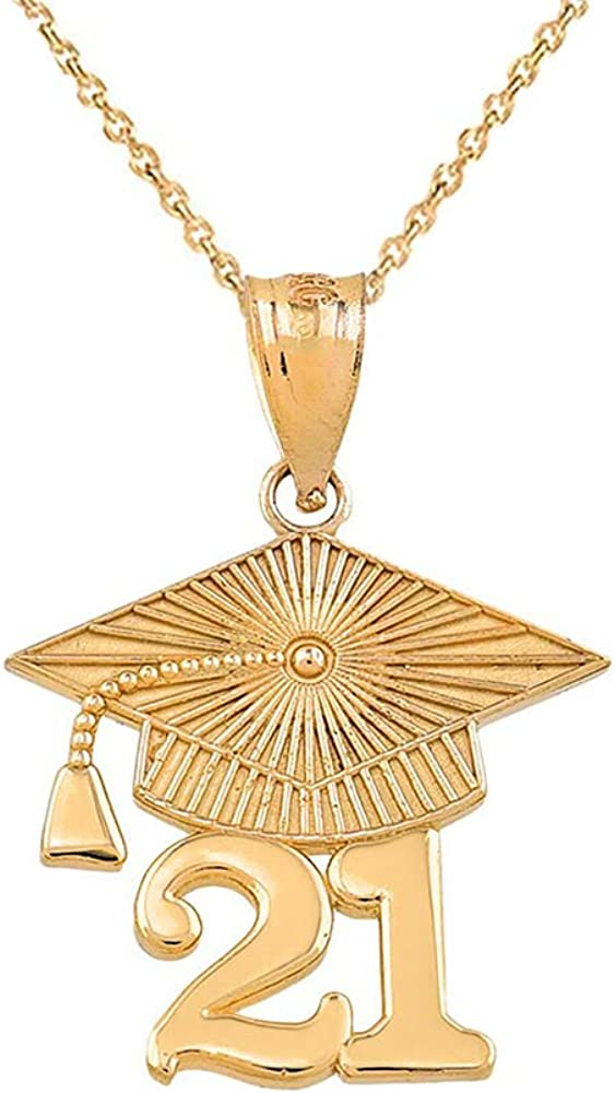 Certified 10k Max 80% OFF Gold 2021 Graduation Charm Pendant Necklace Cap Chicago Mall