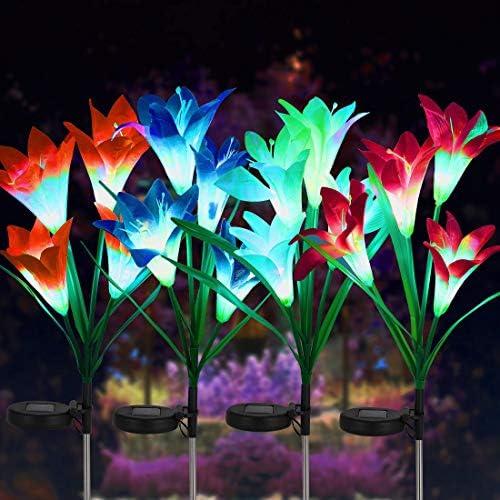 FORUP 4 Pack Solar Garden Stake Flower Lights Outdoor Lily Flower Lights with 16 Lily Flowers product image