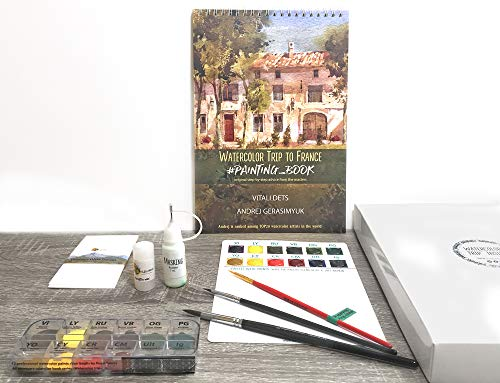 France Watercolor Artbook Tutorial KIT Paints Brush Learn Instruction Step-by-Step Lessons Gift How-to Painting Coloring Sketchbook Insparea