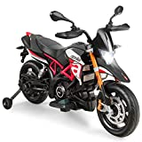 Costzon 12V Kids Motorcycle, Licensed Aprilia Electric Motorcycle Ride On Toy w/ Training Wheels, Spring Suspension, LED Lights, Sounds & Music, MP3, Battery Powered Dirt Bike for Boys & Girls, Red