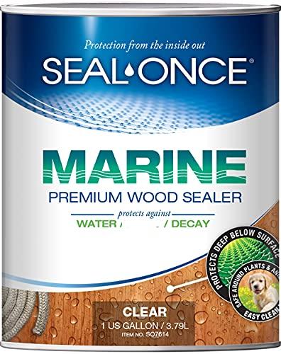 SEAL-ONCE MARINE - 1 Gallon Penetrating Wood Sealer, Waterproofer & Stain. Water-Based, Ultra-low...