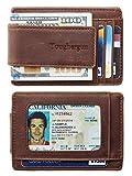Toughergun Genuine Leather Magnetic Front Pocket Money Clip Wallet RFID Blocking (Crazy Horse Deep Brown)