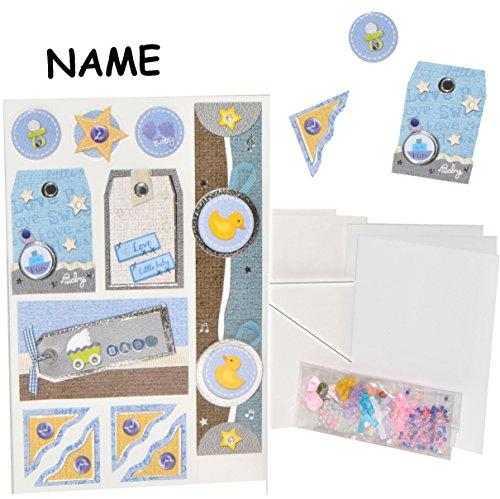 alles-meine.de GmbH Bastelset: 3-D Effekt _ 15 Stück _ Einladungskarten / Glückwunschkarten / Danksagungskarten - incl. Umschlag -  Baby - Junge - blau  - inkl. Name - Basteln ..