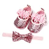 Timatego Infant Baby Girl Mary Jane Flats with Bownot Non Slip Soft Sole Newborn Toddler First Walker Wedding Princess Dress Shoes, 0-6 Months Infant, 05 Pink+Headband