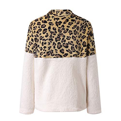 YANFANG Suéter para Mujer Caliente sadadera Jersey Otoño e Invierno con Estampado de Leopardo Costura Manga Larga Cremallera Mujer Sweatershirt MWhite