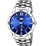 EDDY HAGER Analogue Men's Watch (Blue Dial Silver Colored Strap)