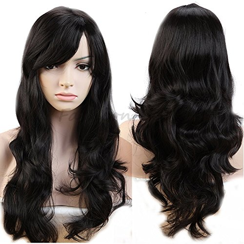 D-DIVINE Full Head Long Wavy Hair Wigs for Girls/Women In Very Fine Quality in Natural Black Color