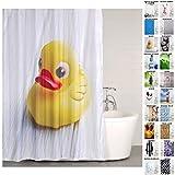 Duschvorhang Duck 180 x 180 cm, hochwertige Qualität, 100prozent Polyester, wasserdicht, Anti-Schimmel-Effekt, inkl. 12 Duschvorhangringe