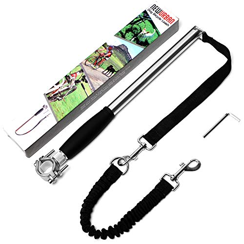 Newurban Dog Bike Leash, Easy Installation Removal Hand Free Dog Bicycle Exerciser Leash for Exercising Training Jogging Cycling and Outdoor Safe with Pets - Steel