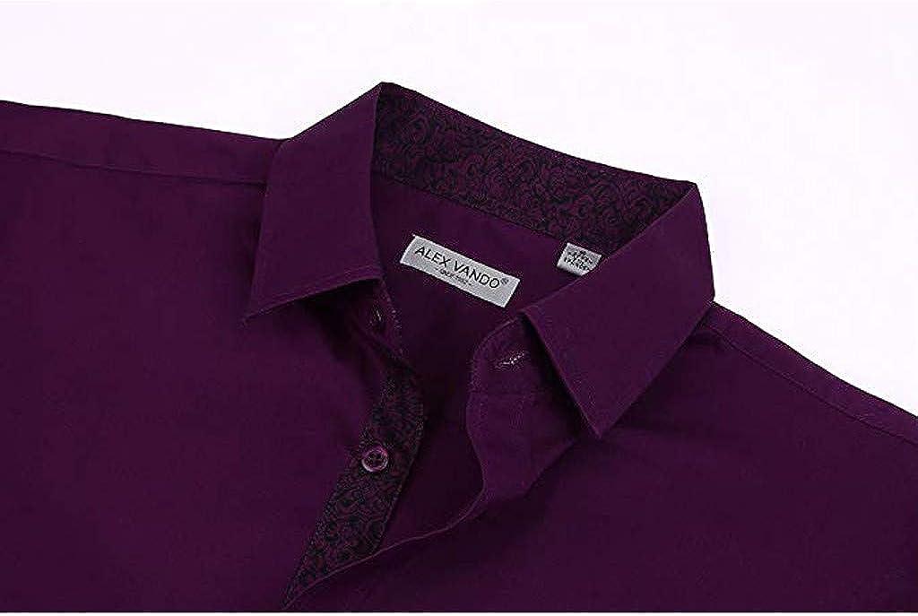 Fastbot Men's Business Casual Dress Shirt Long Sleeve Cotton Dot Slim Fit Solid Button Down Poplin Shirt