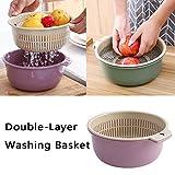 2-in-1 Multifunktions Küchensieb/Küche Sieb und Schüssel Set, doppelt Waschschüssel Sieb und Rührschüssel Ablaufbecken und Korb, zum Reinigen, Waschen, Mischen von Obst und Gemüse (Grün) - 2