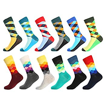 Bonangel Men s Fun Dress Socks-Colorful Funny Novelty Crew Socks Pack,Art Socks  12 Pairs-pattern 4