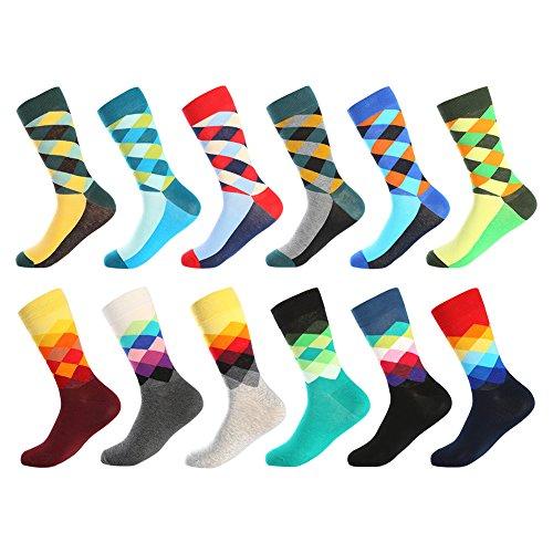 Herren witzige Strümpfe, Herren Bunte Lustige Socken, Fun Gemusterte Muster Socken, Verrückte Socken Modische Mehrfarbig Klassisch als Geschenk, Neuheit Sneaker Crew Socken (12 Paar-Pattern4)