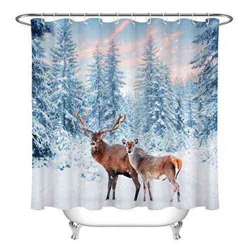 LUODAN Sonnenuntergang Schnee Winterwald Dekorativer wasserdichter Duschvorhang mit HD-Druck, geeignet für Badezimmer, 12 freie Haken, 180 x 180 cm