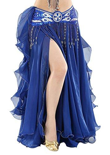 BellyQueen - Vestito da danza del ventre, da donna, stile orientale, per danza del ventre, colore: blu