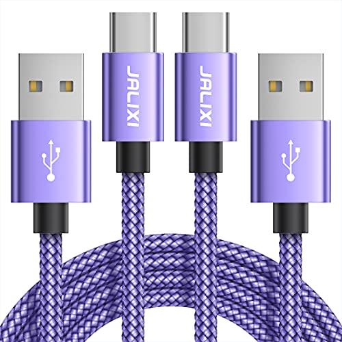 JALIXI - Cable USB tipo C 3 A, carga repetida, resistente, cable cargador de nailon para Samsung Galaxy S10 S9 S8+, Note 9 8, A20e S20fe A21s A51 A50 A41, HUAWEI y Oneplus