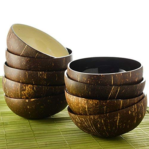 Coconut Bowls Set of 2 – 100% Natural, Vegan-Friendly, Durable Coconut Serving Bowls – Beautiful, One-of-a-Kind, Large Coconut Bowl Set Makes the Perfect Gift – Unique Kitchen Décor by Toma Design