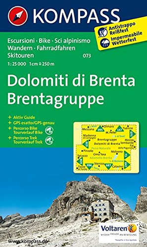 Dolomiti di Brenta - Brentagruppe: Wanderkarte mit Aktiv Guide, Radrouten und alpinen Skirouten. GPS-genau. Dt. /Ital. 1:25000: Wanderkarte mit ... GPS-genau (KOMPASS-Wanderkarten, Band 73)
