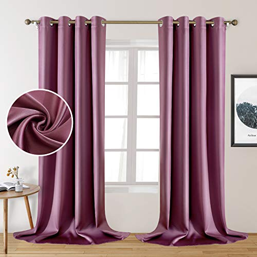 HOMEIDEAS 2 Panels Faux Silk Curtains Lavender Pink Blackout Curtains for Bedroom 52 X 108 Inch Dry Rose Room Darkening Satin Drapes/Curtains, Thermal Insulated Blackout Window Curtains