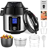 Nictemaw17-in-1 Electric Pressure Cooker, 1500W 6QT Air Fryer Electric Pressure Cooker Combo, Slow Cooker, Multi-Cooker, and More, Included Basket Rack/ Recipe Book