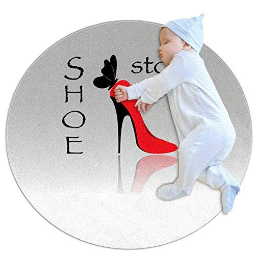 Rote Schuhe mit hohen Absätzen Baby Spielmatte Rundes, weiches, rutschfestes Raumdekor für Kleinkinder und Kleinkinder 80cm