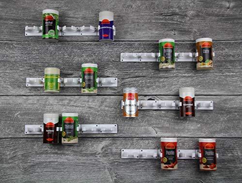 Kamoro HOME und KITCHEN Gewürzregal ohne Bohren Clips - Gewürz Organizer zum Kleben - 6 Streifen für 30 Gewürze (Weiß)