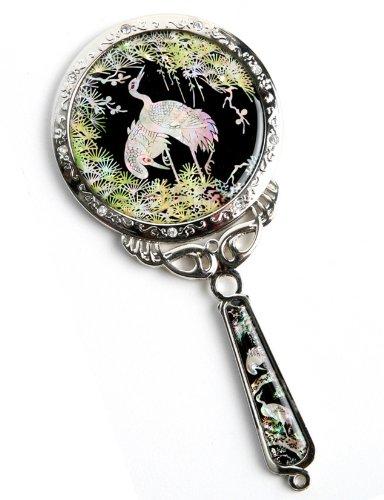 Douchette à main Miroir, un cadeau fait à la main Mother Of Pearl, grues