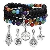 Top Plaza 108 Mala Prayer Beads 7 Chakra Reiki Healing Crystal Bracelet Necklace Lava Rock Stone Aromatherapy Essential Oil Diffuser Stretch Wrap Bracelets with 5 Replaceable Charms