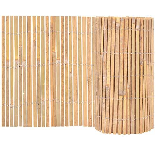 vidaXL Gartenzaun Bambus 1000x50cm Beetumrandung Beeteinfassung Rasenzaun Valla de jardín (bambú, 1000 x 50 cm)