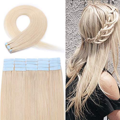Extension Adhesive Naturel Rajout Cheveux Naturel 100% Cheveux Humain Remy Pose a Froid 20 Pièces (#70 Blanc, 12\