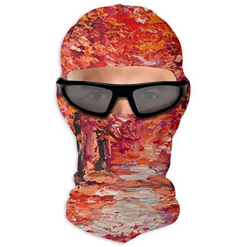 NOBRAND Full Face Masker Olie Schilderen Kleurrijke Herfst Bomen Hood Zonnebrandcrème Masker Dubbele Laag Koud Voor Mannen En Vrouwen