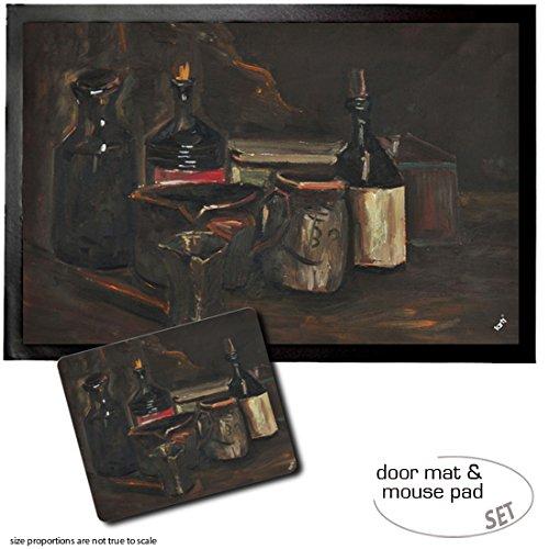 1art1 Vincent Van Gogh, Stillleben Mit Steingut, Flaschen Und Schachtel, 1884 | Fußmatte Innenbereich und Außenbereich | Design Türmatte (60x40 cm) + Mauspad (23x19 cm) Geschenkset