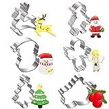 Moldes para Galletas Navidad, joyoldelf 6 Pcs Molde Galletas Navidad Cortadores de Galletas Moldes -...