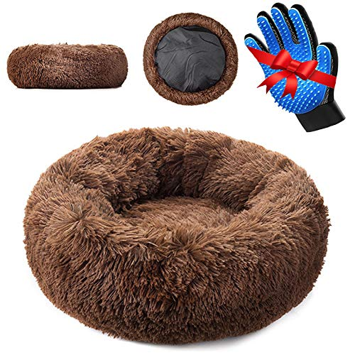 campo de sal Dog Bed - Anti Anxiety Pet Calming Bed - Orthopedic - Ultra Soft Vegan Fur Donut Cuddler Pet Bed - Washable Plush Dog Bed Keeps Your Pet Secure, Calm & Safe - Multiple Sizes