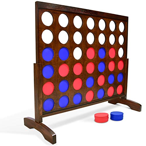 GoSports Giant Dark Wood Stain 4 in a Row Game - Huge 4 Foot Width - with Carry Case and Rules, Brown