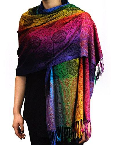 NYFASHION101 Elegant Colorful Paisley Soft Pashmina Scarf Shawl Wrap NBH1401Y - Rainbow 13