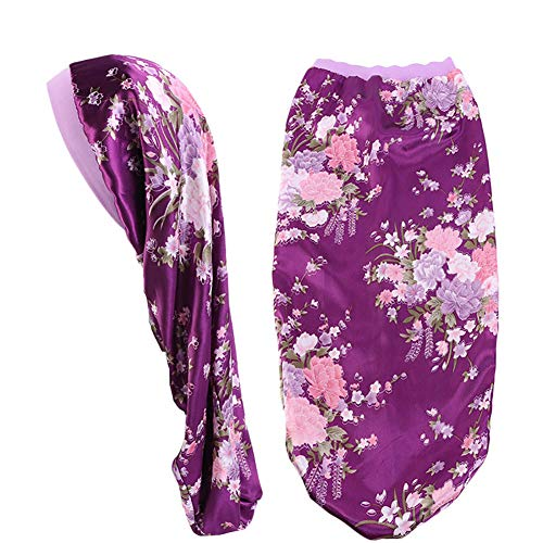 Extra Long Satin Bonnet Sleep Cap Long Bonnet for Braids Hair Loose Cap (Purple Flowers)