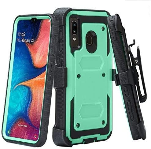 Case for Alcatel 3V 2019 Case, Built-in [Screen Protector] Heavy Duty Holster Cover [Belt Clip][Kickstand] - Teal