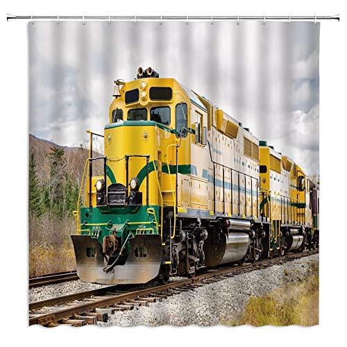 XCBN Tren Nieve Imagen Cortina de Ducha Baño Impermeable y partición a Prueba de Moho Cortina de Ducha separada Seca y húmeda M10 150x180cm