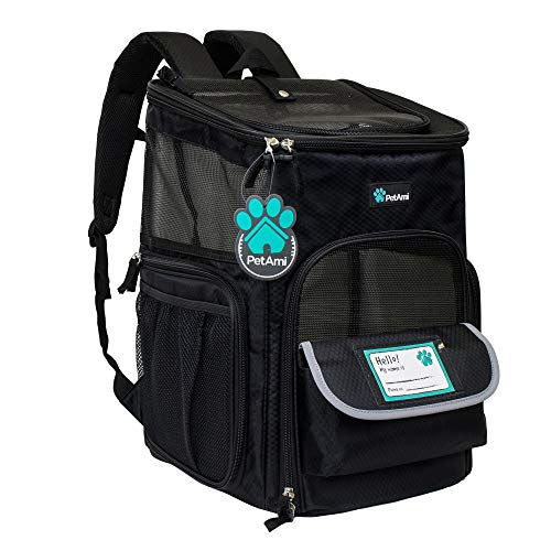 PetAmi Pet Carrier Backpack for Small Cats, Dogs, Puppies | Airline Approved | Ventilated, 4 Way Entry, Safety and Soft Cushion Back Support | Collapsible for Travel, Hiking, Outdoor (Black)