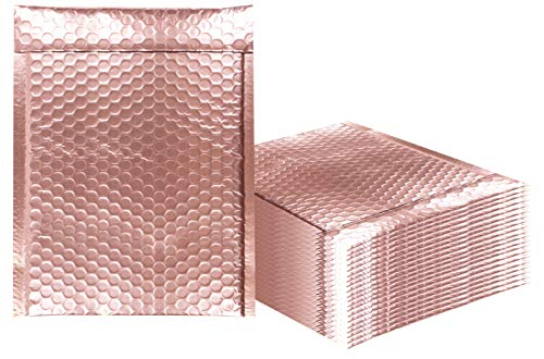 Bubble mailers 9.5 x 13.5 Padded envelopes 9 1/2 x 13 1/2. Pack of 20 Metallic Rose Gold Cushion envelopes. Exterior Size 10.5 x 14.5 (10 1/2 x 14 1/2). Peel & Seal. Mailing, Shipping, Packaging.