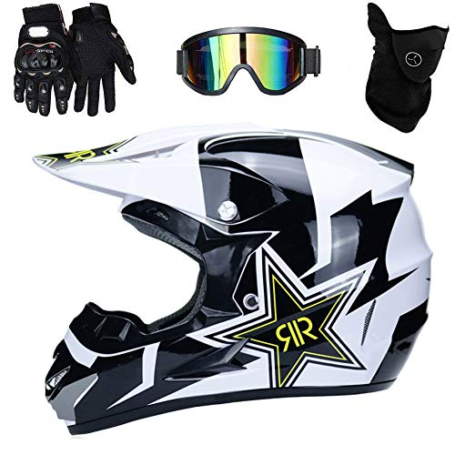 UIGJIOG Casco de Motocross,Casco de Cross de Moto Jet con Gafas Máscara Guantes,Deportes de Motos Off-Road Racing Downhill Enduro Casco ATV MTB BMX Quad Cascos de Motocicleta,Blanco,L(56~57cm)