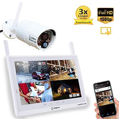 Sequro GuardPro2 Plus 1080p DIY drahtloses Videoüberwachungssystem mit großer Reichweite – 10 Zoll FHD Touchbildschirm - 1 Außen- / Innenkamera mit Nachtsichtfunktion - IP66 wetterfest