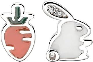 PRETYZOOM 1 paio di orecchini pasquali a forma di coniglio, carota, in argento S925, con coniglio, ornamento per ragazze e...