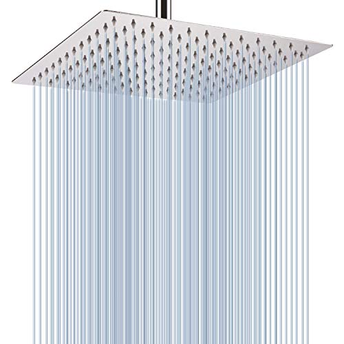 Fixed shower head High Pressure Premium Stainless Steel shower head 10''- Adjustable Rain Shower Head with Removable Restrictor & Self Cleaning High Flow Nozzles -Anti clog&Anti-leak-Polished Chrome