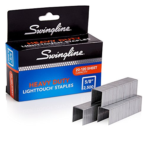 "Swingline Staples, Heavy Duty, 5/8"" Length, 20-120 Sheet Capacity, 100/Strip, 2500/Box, 1 Pack, Light Touch (90009)"